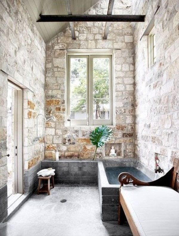 Amusing Natural Bathrooms Design with Stone Accent as Main Theme : Chic Bathroom With Rustic Brick Wall Accent