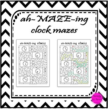 $1.50 Need to reinforce analogue concepts of time but your students are over worksheet work or playing with a handmade clock?  This set of mazes will encourage your students to read time and practice their fine-motor...