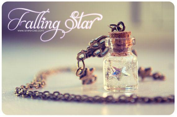 Swarosvki star Tiny glass Bottle Necklace, with glitter stars. Glass Vial necklace miniature Bottle Pendant Cute Necklace