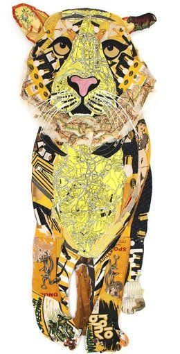 Peter Clark, Tiger, found vintage paper collage, 2013 (Rebecca Hossack Gallery)