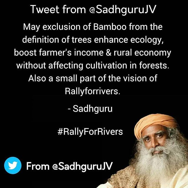 May exclusion of Bamboo from the definition of trees enhance ecology, boost farmers' income & rural economy without affecting cultivation in forests. Also a small part of the vision of #Rallyforrivers. –Sg. . . . . . . . . . . . . . . . . . . . . . #instaChennai #Chennaidiaries  #instaMumbai #Mumbaidiaries  #instaDelhi #Delhidiaries  #instaKolkata #Kolkatadiaries #instaBangalore #Bangalorediaries #Hyderabadgram #Hyderabaddiaries #Mysore  #Tamilnadu  #Kanyakumari #Guntur #Andhrapradesh…