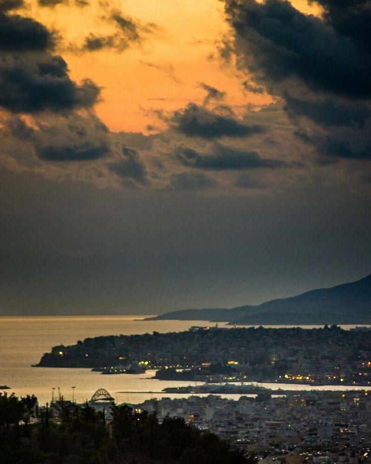 View of Piraeus from Athens center. Shot using a #nikon d3s . . . .  #sunset #water #sea #beach #dawn #landscape #sky #travel #traveling #visiting #instatravel #instago #ocean #seashore #evening #dusk #city #outdoors #mountain #sun #light #seascape #lake #rooftop #athens #greece