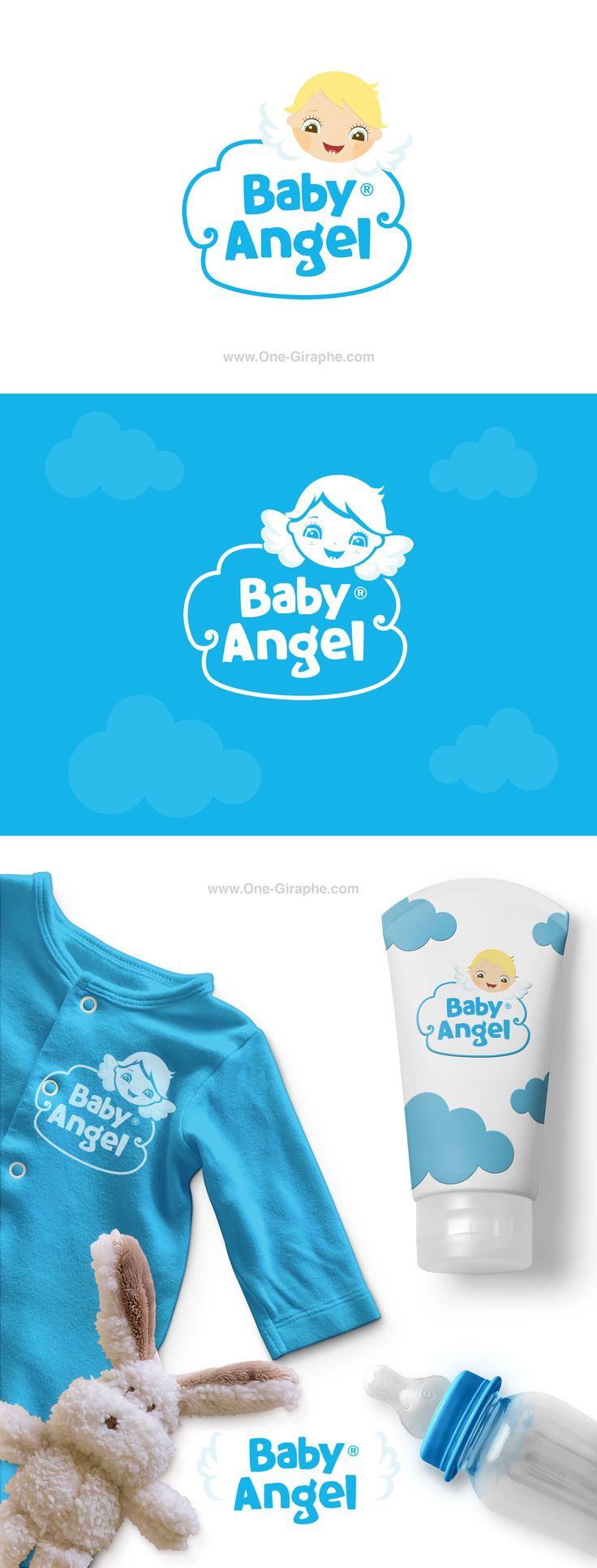 Baby Angel - logo for sale! http://one-giraphe.com/prev.php?c=208  #baby #logo #etsy #etsyseller #nursery #sweet #love #logodesign #behance #inspiration #love #babylogo #angel #graphic #graphicdesign #logo #logos