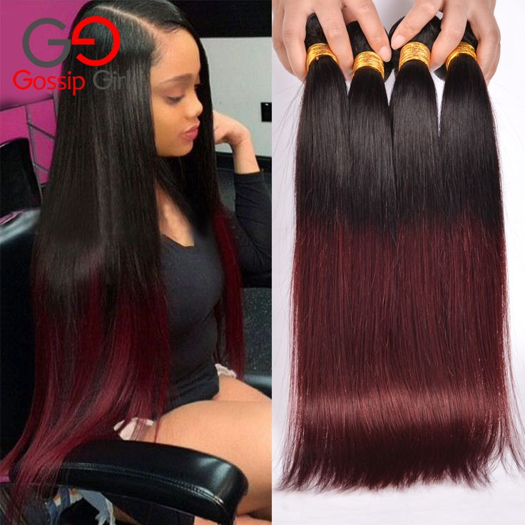 7A Brazilian Straight Hair 1B99J/Burgundy 4 Bundles Brazilian Hair Weave Bundles Straight Hair Two Tone Human Hair Bundles