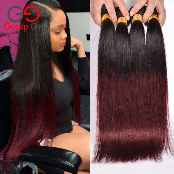 7A Brazilian Straight Hair 1B99J/Burgundy 4 Bundles Brazilian Hair Weave Bundles Straight Hair Two Tone Human Hair Bundles