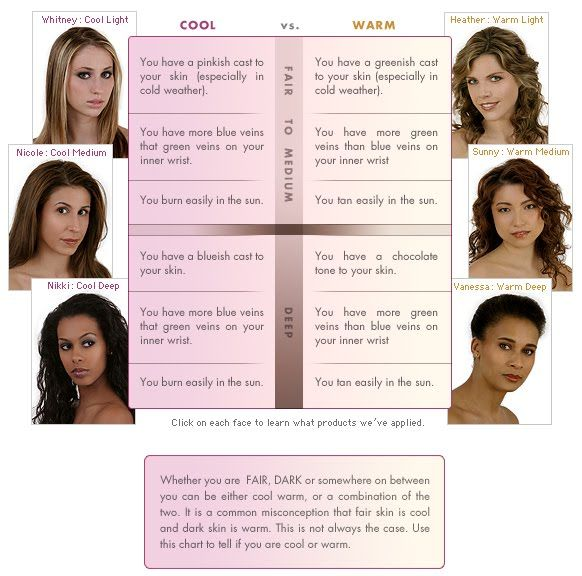 Are you WARM or COOL? | Skin Undertone Type Chart