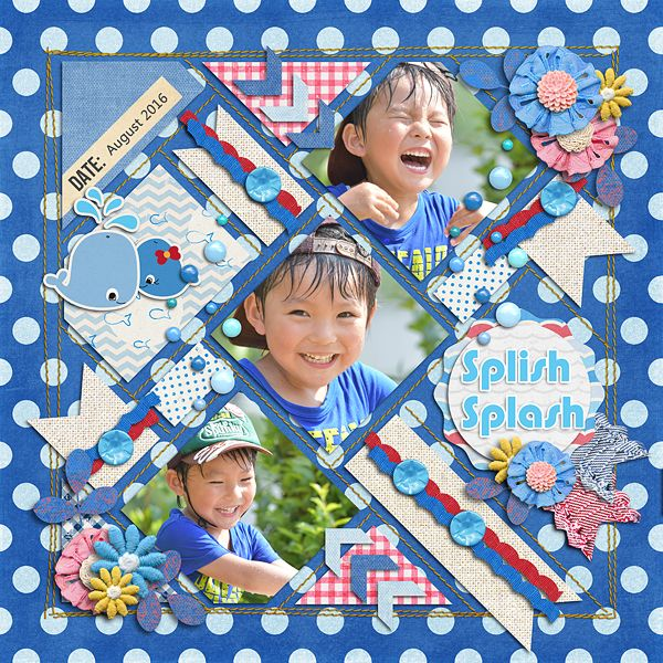 Splish Splash   Template : In The Box 04  Templates by Akizo Designs http://www.thedigichick.com/shop/Akizo-Designs/  Kit : Whale of a Tale Collection by creashens http://www.creashens.com/  Photos : Charmy