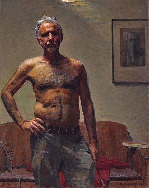 Robert Hannaford - 'Robert Hannaford, self-portrait' - Born in 1944, Hannaford lives and works near Riverton, South Australia. He is a highly regarded sculptor and landscape painter, as well as an acclaimed portrait artist. oil on canvas. 114 x 90 cm.