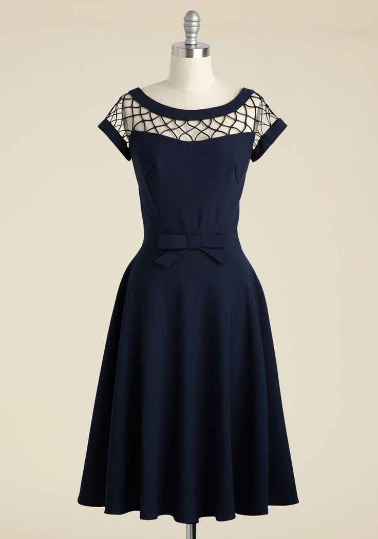 With Only a Wink A-Line Dress in Navy - Long, Party, Pinup, Vintage Inspired, 50s, Blue, Solid, Bows, Woven, Cutout, Cocktail, Cap Sleeves, Best Seller, Full-Size Run, Nautical, As You Wish Sale, Top Rated, 40s, Bridesmaid, Work, Homecoming, Saturated, A-line, Spring, Summer, Fall, Winter, Woven, Best