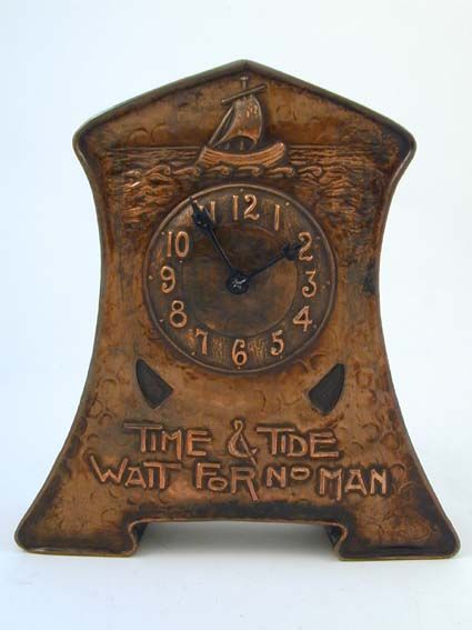 "Designer - Unknown - Description - Arts & Crafts copper clock - ""Time & Tide Wait For No Man"""