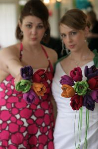 Advice about rainy day weddings and a beautiful felted tulip bouquet.