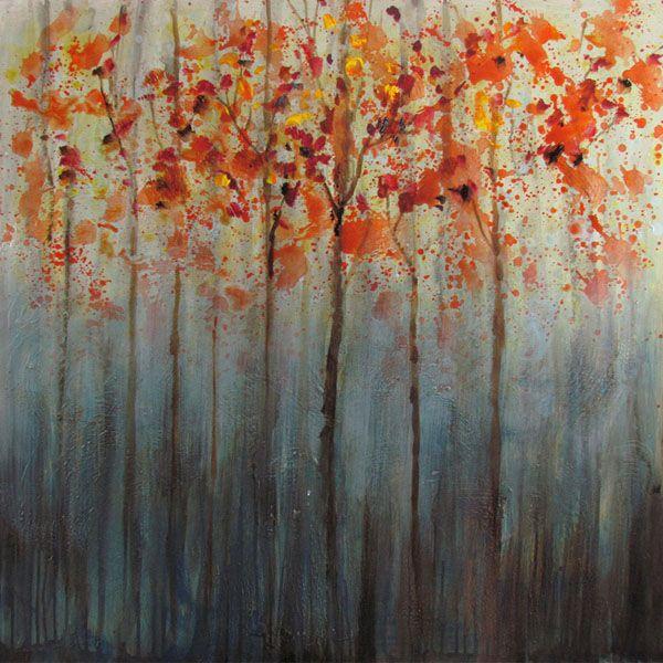 Tableau abstrait arbres orangés, peint à la main à l'huile lustré 30x30''