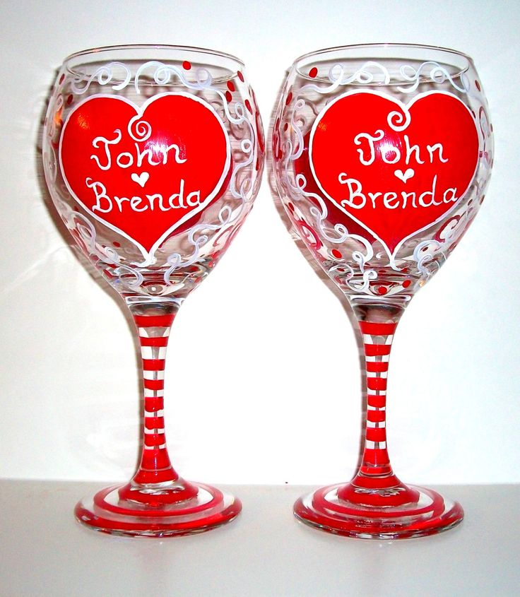 Valentine's Day Red Hearts Hand Painted Set of 2 - 20 oz. Wine Glasses Personalized Lover Gift for Lover Girl Friend Wife Romantic Names by SharonsCustomArtwork on Etsy