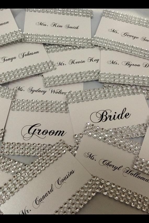 Rhinestone Bling Wedding Place card Escort by EVERYYlittleDETAIL, $2.00