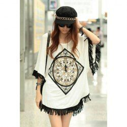 $6.62 Loose-Fit Stylish Tassel Hem Batwing Sleeve Spring T-Shirt For Women