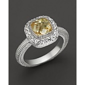 Judith Ripka Sterling Silver Cushion-Cut Isabella Ring with Canary Crystal and White Sapphire
