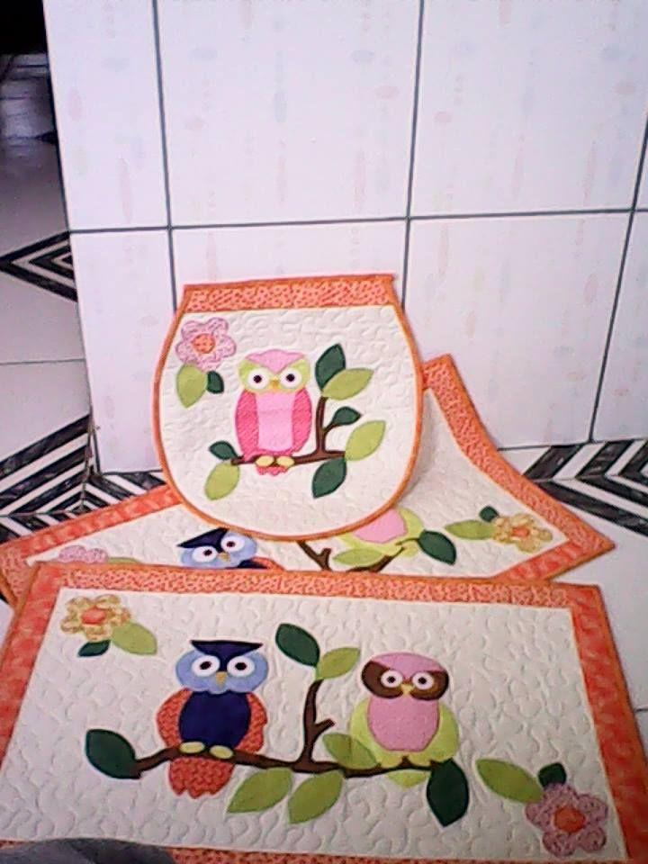 Kit Banheiro Em Tecido : Jogo banheiro patchwork and owl