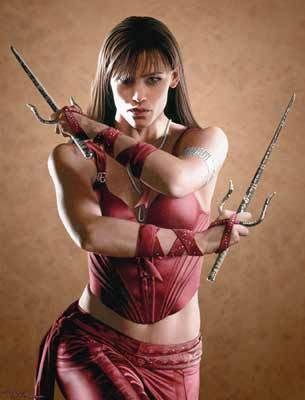 Elektra. was a little disappointed they didn't give her the head wrap but a cool modern version of Elektra