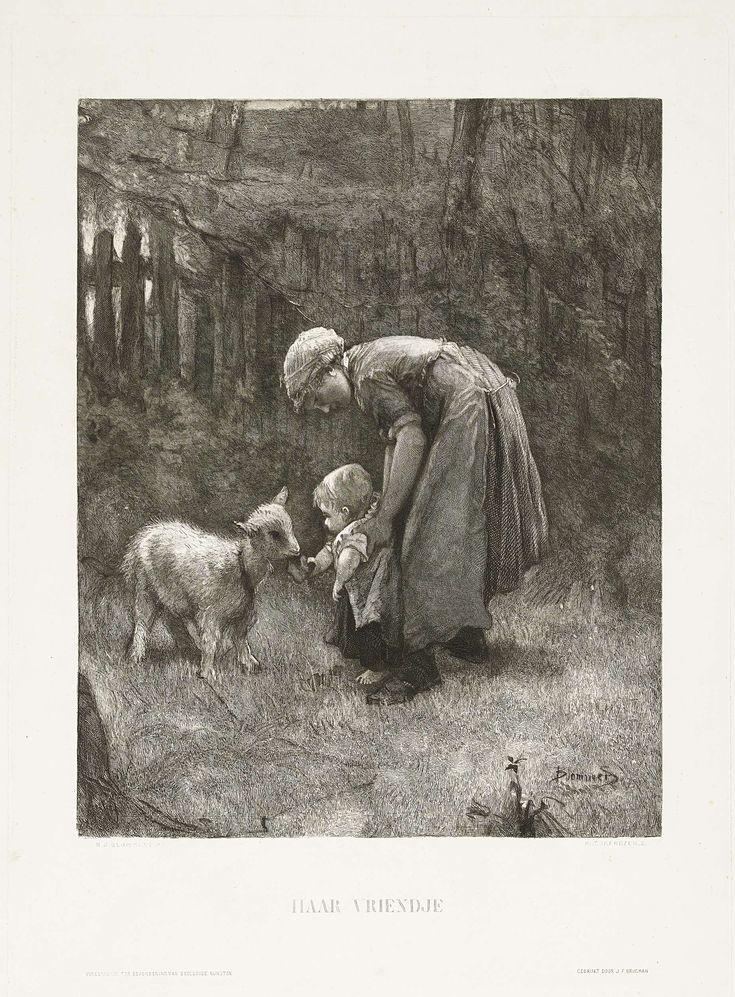 Petrus Johannes Arendzen | Haar vriendje, Petrus Johannes Arendzen, J.F. Brugman, Vereeniging tot Bevordering van Beeldende Kunsten, c. 1865 - c. 1879 | Een boerenmeisje houdt een kleuter vast die net kan lopen. Het kindje voert een jonge geit.