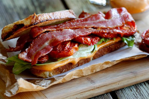The Ultimate BLT Sandwich with Roasted Tomatoes, Garlic, Dijon, and Lemon on Toasted Sourdough