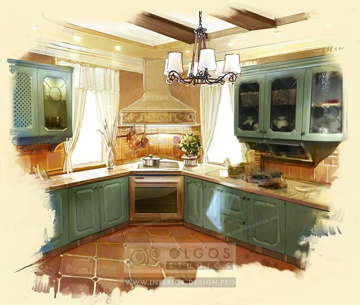 green kitchen design in the provence style | lithuanian kitchen