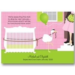 Pink Crib Stork Pregnancy AnnouncementsPregnancy Announcements, Couples Baby, Couples Pregnancy, Stork Baby Shower, Baby Shower Invitations, Baby Announcements, Cribs Stork, Pink Cribs, Baby Cribs