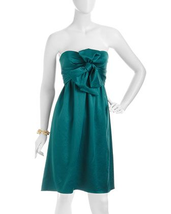 Strapless Bow Dress, Peacock by Nicole Miller at Last Call by Neiman Marcus.