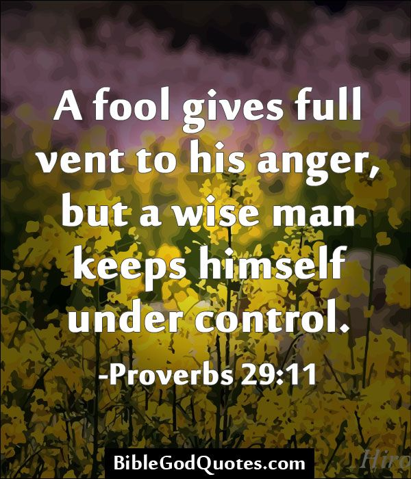 A fool gives full vent to his anger, but a wise man keeps himself under control. -Proverbs 29:11
