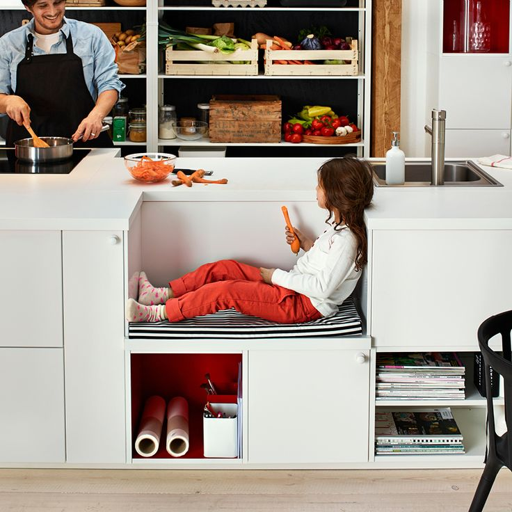 When kids come along you spend a lot more time in the kitchen, and wherever you are, they are. Make it easier to share by giving them a little space and adding ways for them to help. Because a child friendly kitchen is a happy kitchen. We built a low bench into the island, perfect for the kids to sit or stand up on while helping out, it's also a great place to drop the shopping bags.