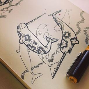 Нарвалы. Бивень растёт только у самцов, прорастает через мягкие ткани губы слева. И зубов совсем нет. #рисунок #тушь #ротринг #изограф #рапидограф #inktober #whale #narwhal #ink #rotring