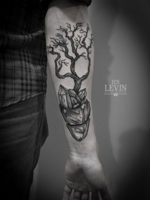Crystal Roots Tree Dotwork tattoo by Ien Levin
