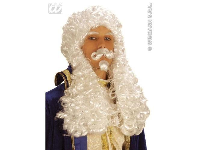 Francia király paróka, bajusszal+szakállal, fehér