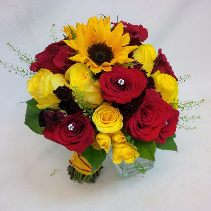 Hand-Tied Bridal Bouquet with a bright, summer-inspired colour scheme. www.plushflowers.ca