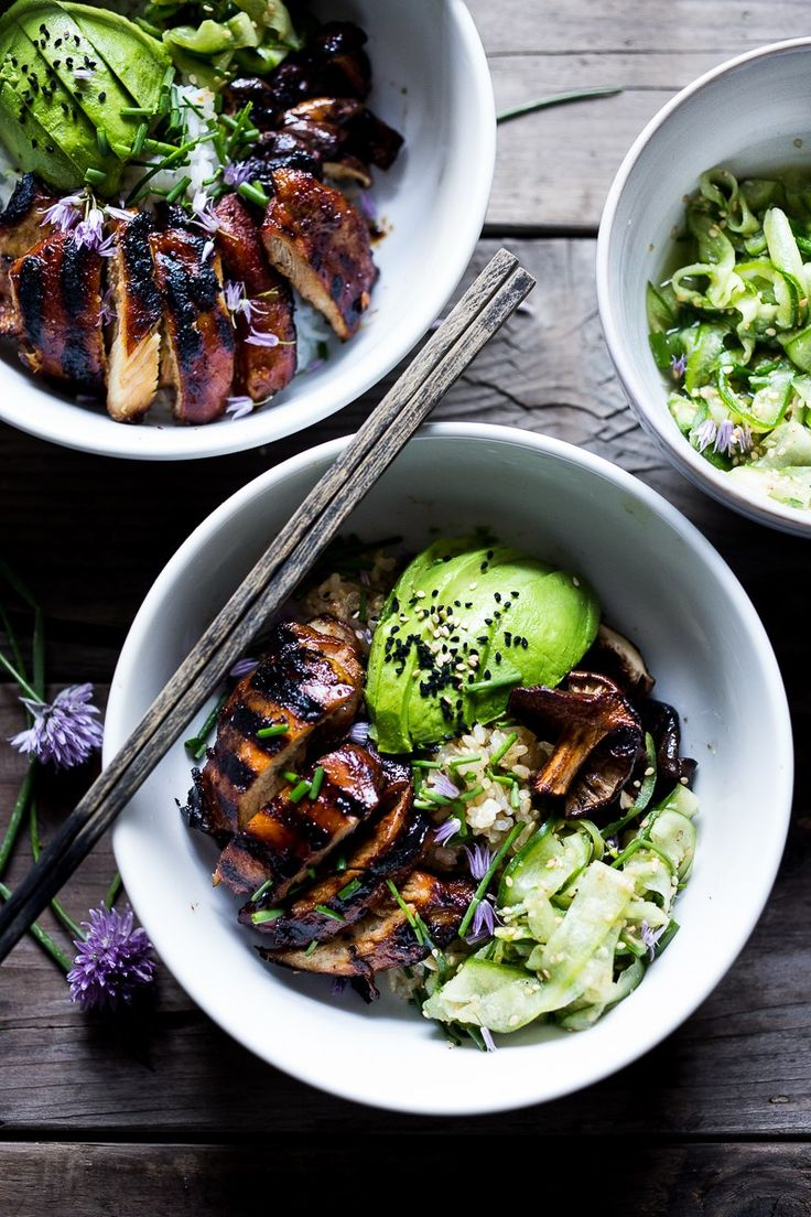 Grilled Japanese Farm Style Teriyaki Bowl - can be made with grilled chicken or portobellos, with refreshing cucumber sesame ribbon salad, avocado, and sweet brown rice. | http://www.feastingathome.com