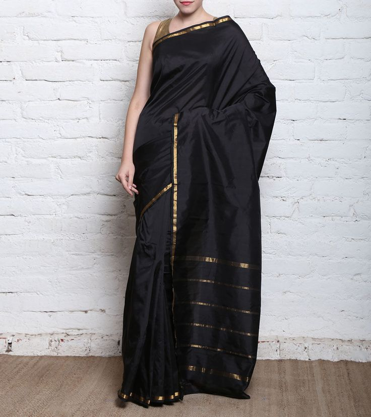 Black #Kanjivaram Pure #SilkSaree With Zari Work #Indianroots #flipkart