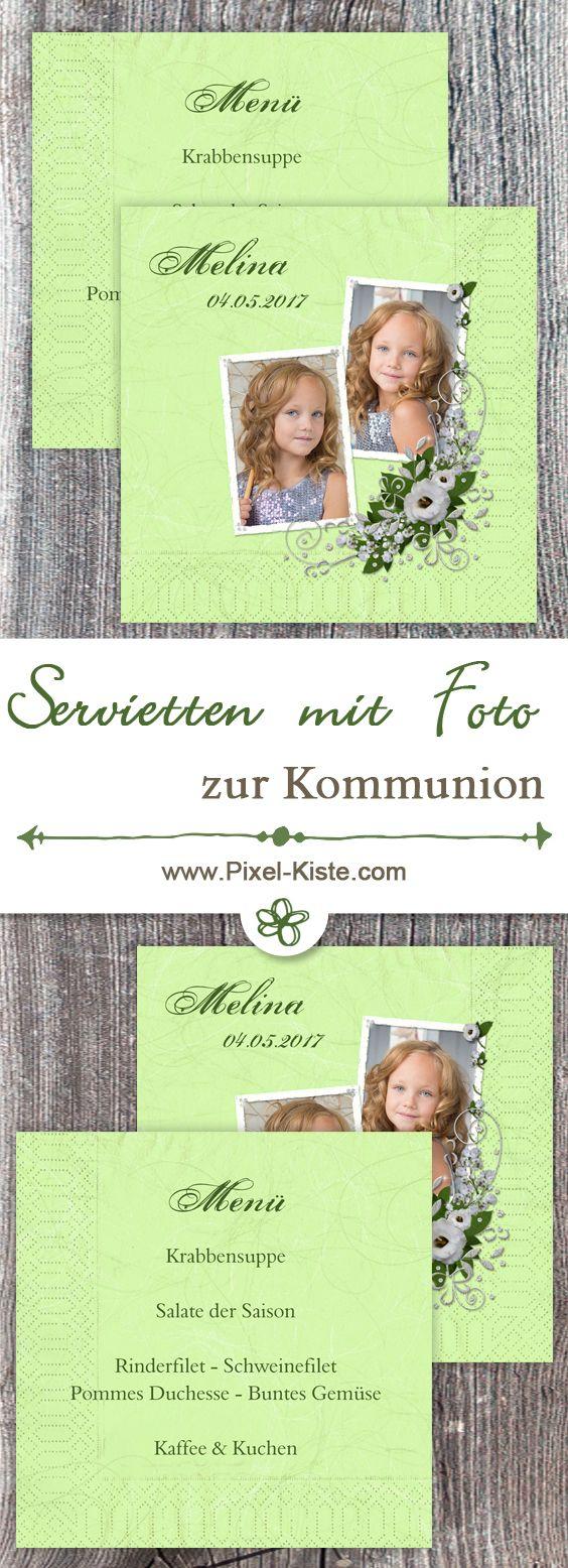 Servietten für die Kommunion oder Konfirmation mit Foto und/oder Text z.B. Menü bedrucken lassen.
