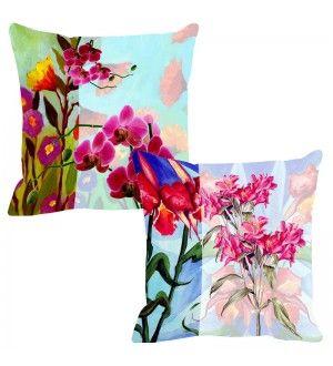 Leaf Designs Dark Pink & Light Pink Cushion Cover - Set of 2