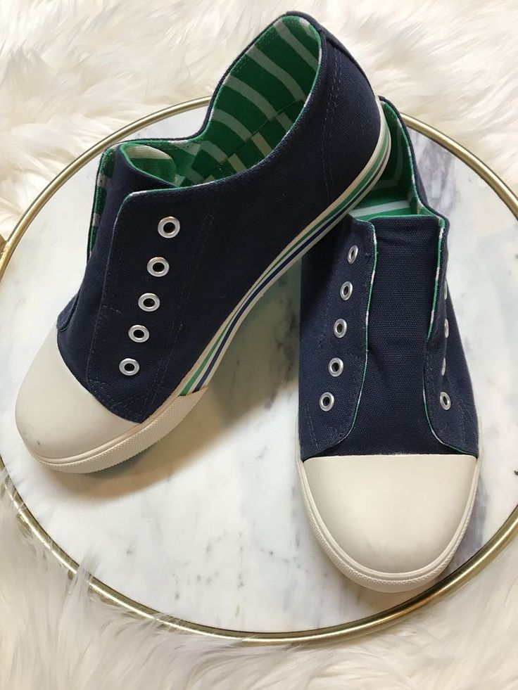 Boden Boys Slip-On Canvas Lace Free Blue Green Shoes Size 37 US 5 #Boden #CasualShoes