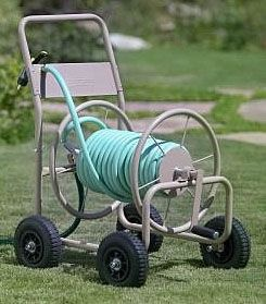 4 Wheel Pneumatic Hose Reel Steel Cart For Commercial Or Residential Use By Liberty Garden