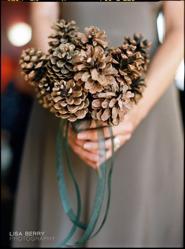 Pinecone wedding bouquet idea from 5 Non-Traditional Bouquet Ideas on Green Bride Guide