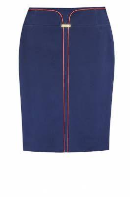 м-290/синяя Модель силуэта карандаш с модным эффектом двойной юбки со стороны   Юбки