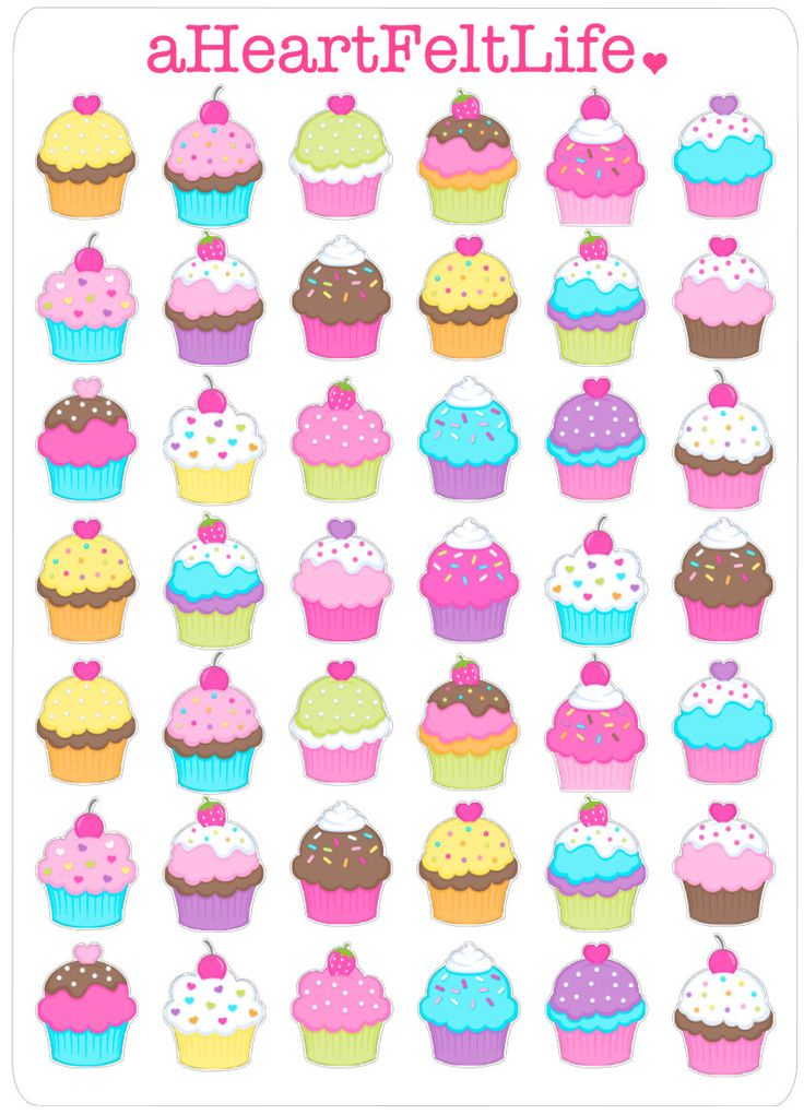Sweet Cupcake Stickers for your Planner, scrapbook, calendar, etc. by aHeartFeltLife on Etsy