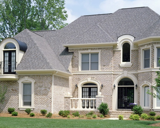 brick exterior with turret love this brick with cream trim for exterior of our house house. Black Bedroom Furniture Sets. Home Design Ideas