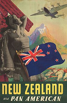 Vintage poster promoting travel to New Zealand via Pan American