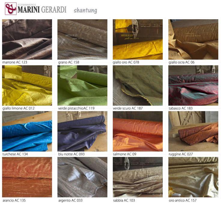 Lo SHANTUNG E' un tessuto di seta che vive! tabella 16 colori con Disponibilità Immediada .... Comprami http://www.marinigerardi.it/store/negozio/shantung-tessuto-tende-pura-seta/