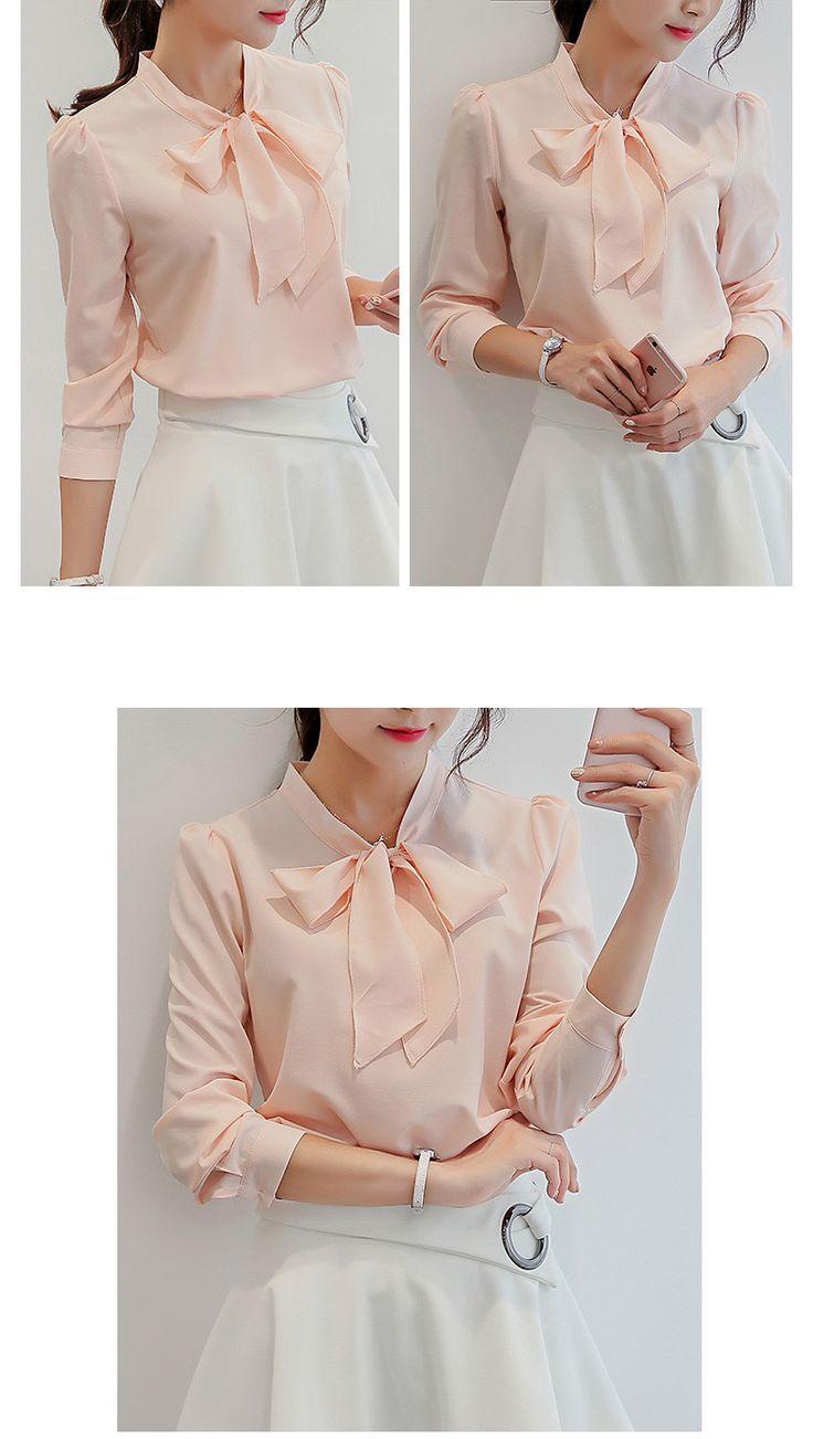 Novas mulheres chiffon blusa rosa branca verão outono coreano moda elegante trabalho fresco manga comprida tops vestuário feminino em Blusas & Camisas de Das mulheres Roupas & Acessórios no AliExpress.com | Alibaba Group