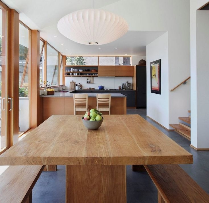 Modern Wooden Kitchen And Dining Area Contains Timber Dining Table And Wooden Bench Also White Contemporary44 Best Wood Timber Pendant Lights Images On