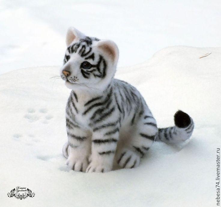 Белый тигрёнок (игрушка валяная) - игрушка валяная,валяная игрушка,игрушка из войлока