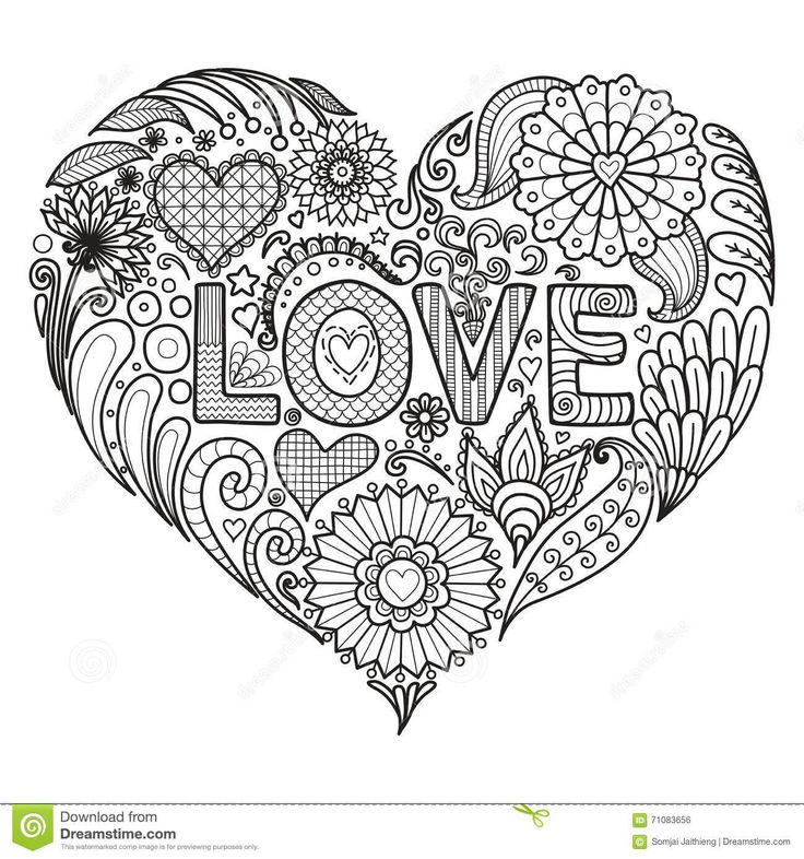 Heart On Flowers For Coloring Books Adult Cards T Shirt Graphic Tattoo And Other Decorations