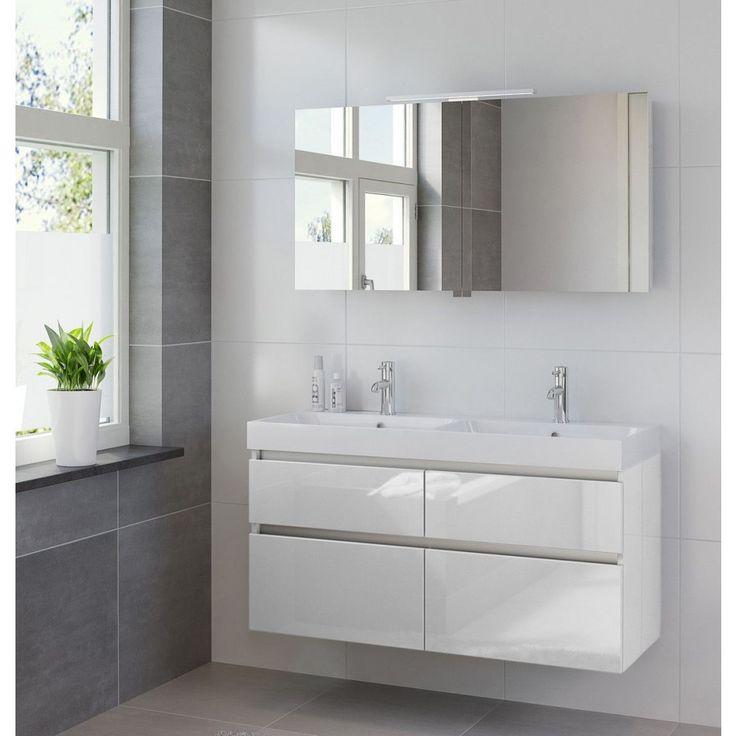 Bruynzeel Pinto meubelset 120cm dubbele wastafel spiegelkast led hoogglans wit…